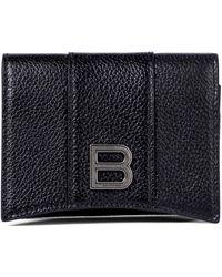 Balenciaga Portemonnaie Hourglass aus Leder - Schwarz