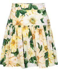 Dolce & Gabbana Floral Cotton Poplin Miniskirt - Yellow