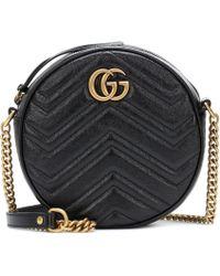 Gucci Mini Circle Gg Marmont Leather Bag - Black