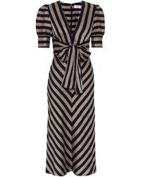 Rebecca Vallance Nautique Striped Midi Dress - Blue
