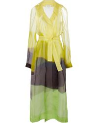 Dries Van Noten Printed Belted Silk Tulle Coat - Yellow
