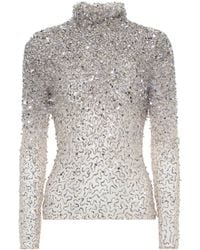 Valentino Sequin-embellished Tulle Top - Metallic