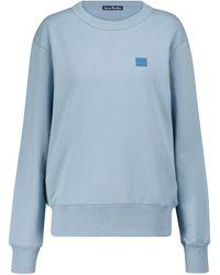 Acne Studios Face-patch Cotton Knit Sweatshirt - Blue