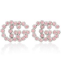 Gucci GG Running White 18kt White-gold Earrings With Topaz And Diamonds - Metallic