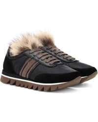 Brunello Cucinelli - Fur-trimmed Leather Sneakers - Lyst