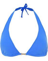 Melissa Odabash Mustique Halter Bikini Top - Blue