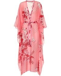 Etro Floral Cotton And Silk Kaftan - Pink