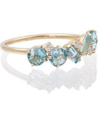 Suzanne Kalan Anillo de oro amarillo de 14 ct con topacios y diamantes - Azul