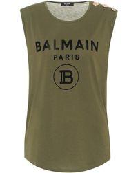 Balmain T-shirt imprimé en coton - Vert
