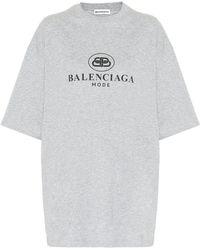 Balenciaga Logo Cotton T-shirt - Gray