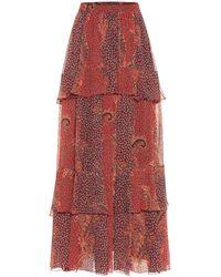 Etro Bedruckter Maxirock aus Seide - Rot