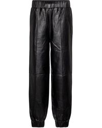 Ganni Hose aus Leder - Schwarz