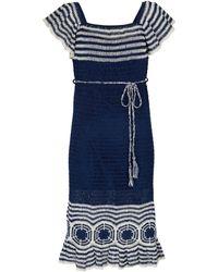 Anna Kosturova Abito in cotone crochet a righe - Bianco