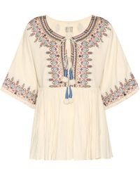 Velvet - Dahlia Embroidered Cotton Top - Lyst