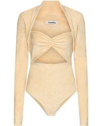 Nanushka Heidi Stretch-velvet Bodysuit - Natural