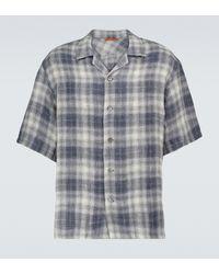 Barena Kariertes Kurzarmhemd aus Leinen - Grau