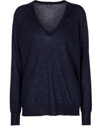JOSEPH Cashair Cashmere V-neck Sweater - Blue