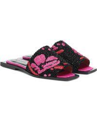 Ganni Embellished Slides - Black