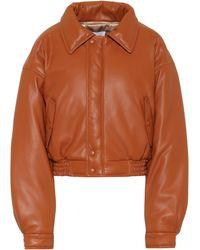 Nanushka Bomi Cropped Vegan Leather Bomber Jacket - Orange