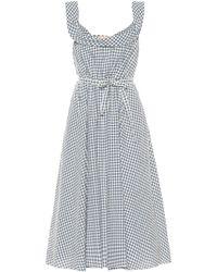 Brock Collection Patti Gingham Wool-blend Dress - Grey