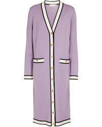 Tory Burch Cardigan Madeline en laine mérinos - Violet