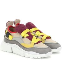 Chloé - Sneakers Sonnie in suede e mesh - Lyst