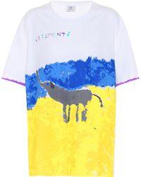 Vetements Printed Cotton T-shirt - White