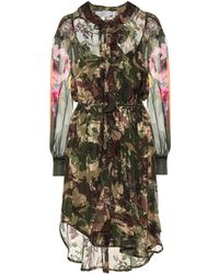 Preen By Thornton Bregazzi Octavia Silk-blend Camouflage Dress - Green