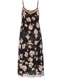 N°21 Floral Silk Slip Dress - Black
