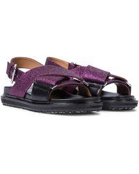 Marni Sandalen aus Leder mit Gitter - Lila