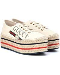 Gucci Plateau-Espadrilles - Weiß