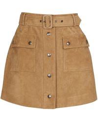 Saint Laurent Minifalda de gamuza tiro alto - Neutro