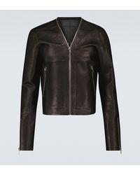 Rick Owens V-neck Leather Jacket - Black