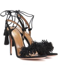 Aquazzura - Wild Thing Suede 105mm Sandal - Lyst