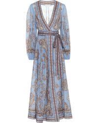 Zimmermann Robe longue portefeuille Fiesta imprimée en coton - Bleu