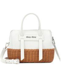 Miu Miu Midollino Leather & Rattan Satchel - White
