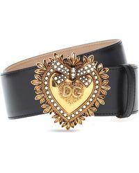 Dolce & Gabbana Devotion Belt In Lux Leather - Black