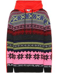 MSGM Cotton-jersey Hoodie - Multicolor