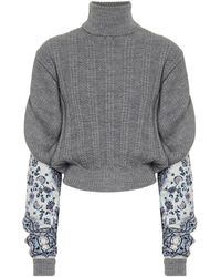 Y. Project Y / Project Contrast Paneled Turtleneck Sweater - Gray