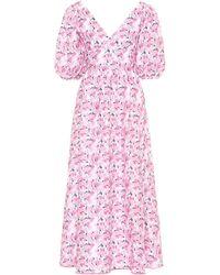 Gül Hürgel Floral-print Linen Midi Dress - Pink