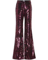 Halpern Flared-Hose mit Pailletten - Pink