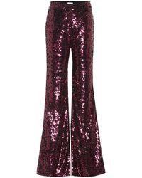 Halpern Pantalones anchos de lentejuelas - Rojo