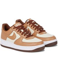 Nike Air Force 1 Low Leather-trimmed Sneakers - Brown