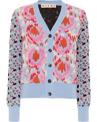 Marni Abstract Floral Pattern Cardigan - Blue