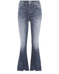 Mother Jeans Button Fly Hustler Ankle - Blu