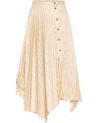 Acne Studios Pinstripe Asymmetric Skirt - Natural