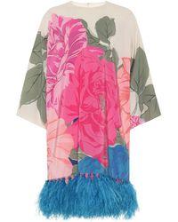 Valentino – Robe imprimée en soie à plumes - Multicolore