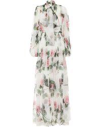 Dolce & Gabbana Long Tropical Rose Print Chiffon Dress - Multicolour