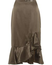 Tom Ford Silk-satin Midi Skirt - Green