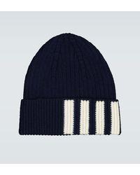 Thom Browne Gestreifte Mütze aus Kaschmir - Blau